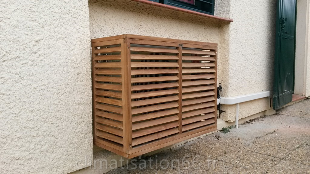 Cache groupe ext rieur decoratif for Protection climatiseur exterieur
